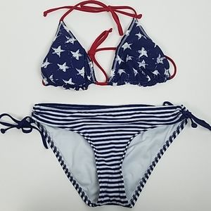 2/$14 Mossimo Small Bikini Bottoms Blue Stripes